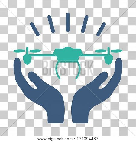 Drone Launch Hands icon. Vector illustration style is flat iconic bicolor symbol cobalt and cyan colors transparent background. Designed for web and software interfaces.