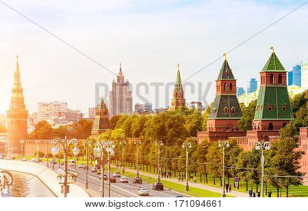 Traffic on the Kremlyovskaya embankment in Moscow with sunlight effect