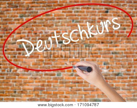 Woman Hand Writing Deutschkurs (german Course In German) With Black Marker On Visual Screen