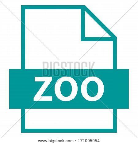 Filename extension icon ZOO LZW compression algorithm in flat style. Quick and easy recolorable shape. Vector illustration a graphic element.