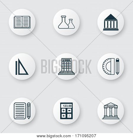 Set Of 9 School Icons. Includes College, Home Work, Chemical And Other Symbols. Beautiful Design Elements.