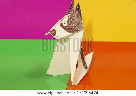 Paper origami dog insulated on a colorful background