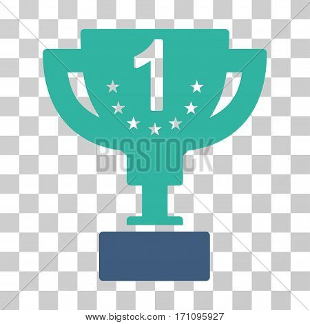 First Prize Cup icon. Vector illustration style is flat iconic bicolor symbol cobalt and cyan colors transparent background. Designed for web and software interfaces.