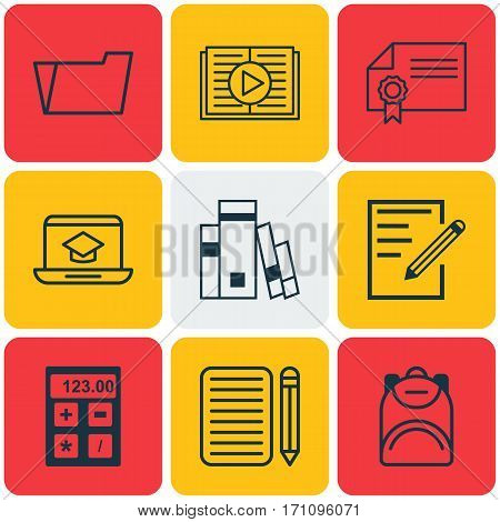 Set Of 9 School Icons. Includes Distance Learning, Document Case, Paper And Other Symbols. Beautiful Design Elements.