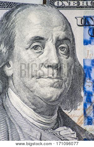 Benjamin Franklin on one hundred dollars colse-Up