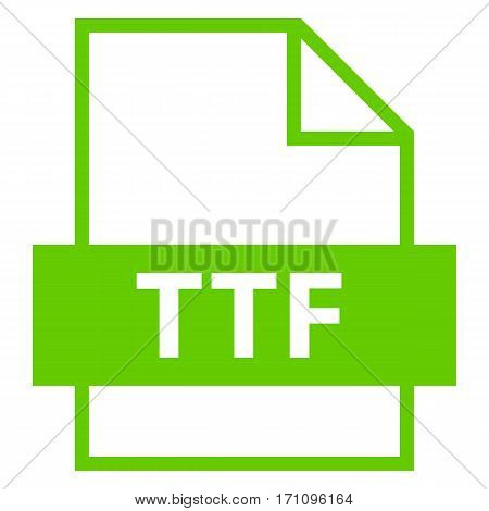 Use it in all your designs. Filename extension icon TTF True Type Font in flat style. Quick and easy recolorable shape. Vector illustration a graphic element.