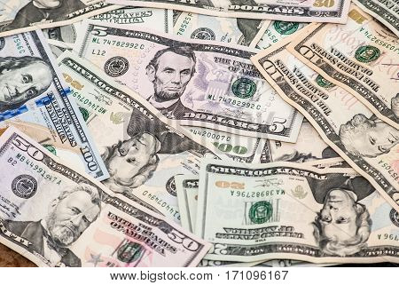 close up image dollars pile as background