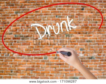 Woman Hand Writing Drunk With Black Marker On Visual Screen