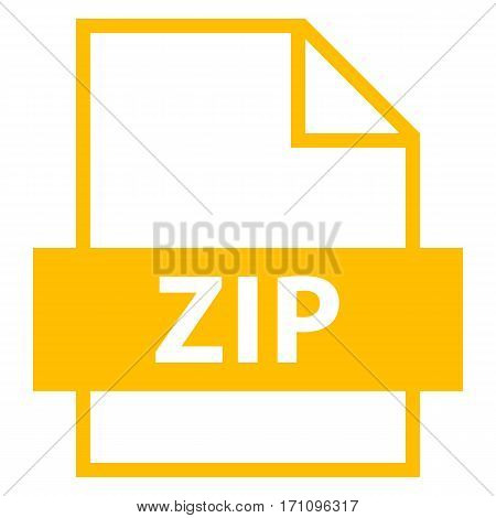 Use it in all your designs. Filename extension icon ZIP archive file format in flat style. Quick and easy recolorable shape. Vector illustration a graphic element.