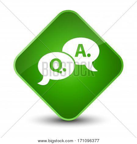 Question Answer Bubble Icon Special Green Diamond Button