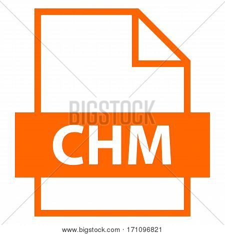 Use it in all your designs. Filename extension icon CHM Microsoft Compiled HTML Help in flat style. Quick and easy recolorable shape. Vector illustration a graphic element.