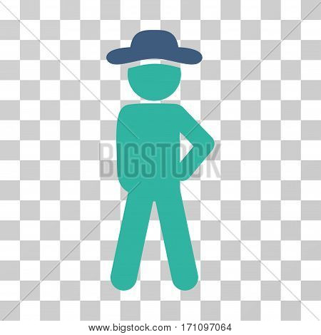 Gentleman Audacity icon. Vector illustration style is flat iconic bicolor symbol cobalt and cyan colors transparent background. Designed for web and software interfaces.