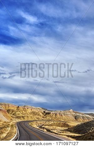 Scenic Road In Badlands National Park, South Dakota.