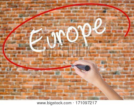 Woman Hand Writing Europe With Black Marker On Visual Screen