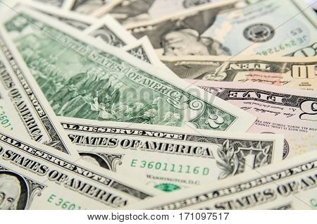 Pile of two dollar bills close up