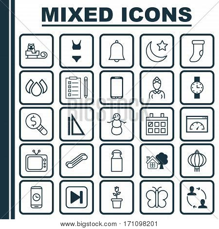 Set Of 25 Universal Editable Icons. Can Be Used For Web, Mobile And App Design. Includes Elements Such As Jug, Stair Lift, Sleigh And More.