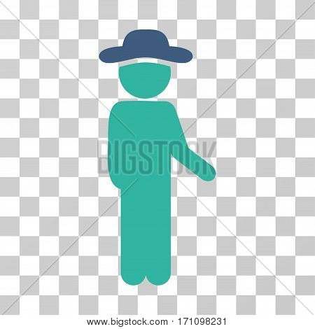 Gentleman Idler icon. Vector illustration style is flat iconic bicolor symbol cobalt and cyan colors transparent background. Designed for web and software interfaces.
