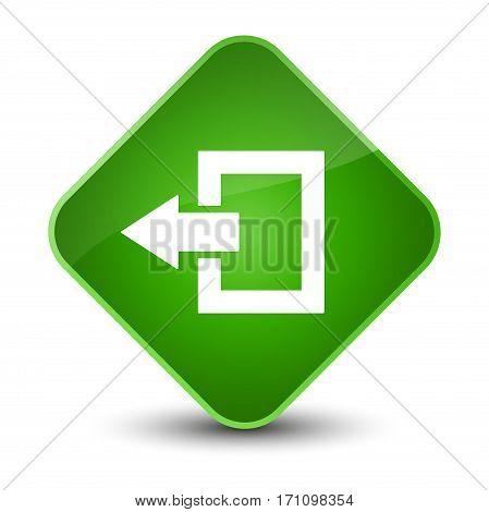 Logout Icon Special Green Diamond Button