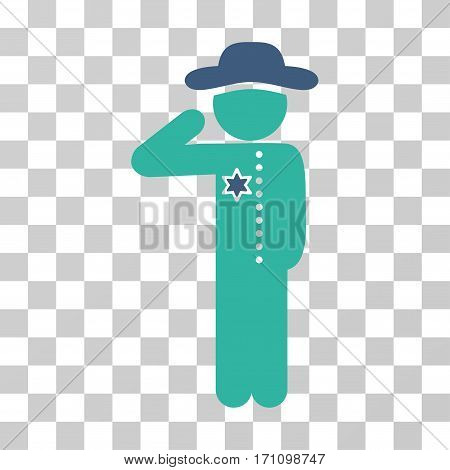 Gentleman Officer icon. Vector illustration style is flat iconic bicolor symbol cobalt and cyan colors transparent background. Designed for web and software interfaces.