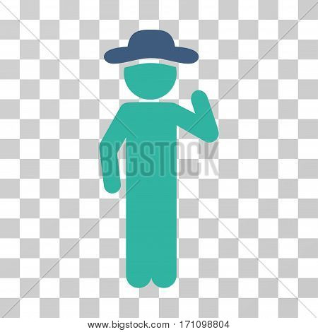 Gentleman Opinion icon. Vector illustration style is flat iconic bicolor symbol cobalt and cyan colors transparent background. Designed for web and software interfaces.
