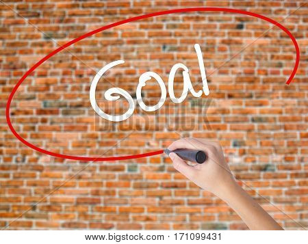 Woman Hand Writing Goal  With Black Marker On Visual Screen