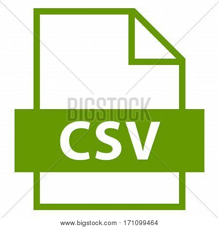 Use it in all your designs. Filename extension icon CSV Comma-Separated Values in flat style. Quick and easy recolorable shape. Vector illustration a graphic element.
