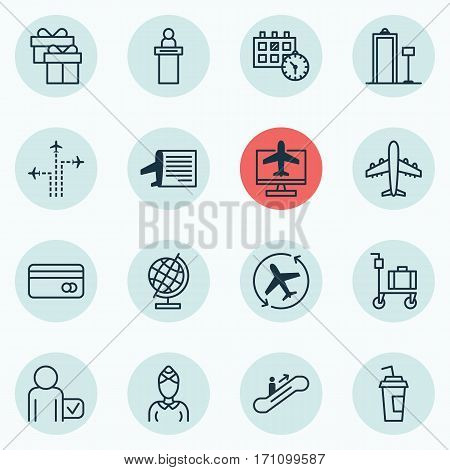 Set Of 16 Airport Icons. Includes Airliner, Aircraft Arrow, Drink Cup And Other Symbols. Beautiful Design Elements.