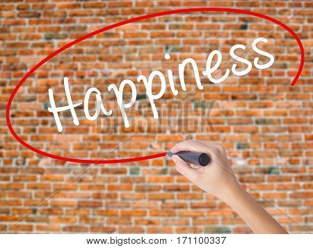 Woman Hand Writing Happiness With Black Marker On Visual Screen