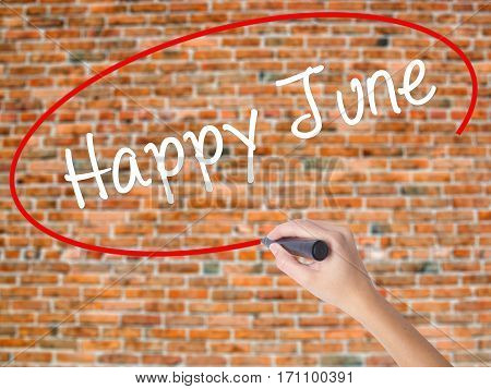 Woman Hand Writing Happy June With Black Marker On Visual Screen
