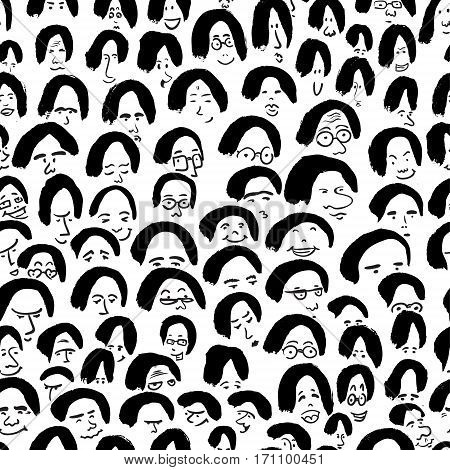 Artistic seamless pattern with crowd of people. Ink drawing simply faces in doodle style. Design for social media backgrounds and textile or wrapping design