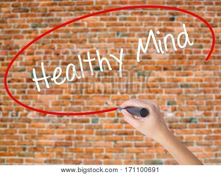 Woman Hand Writing Healthy Mind With Black Marker On Visual Screen