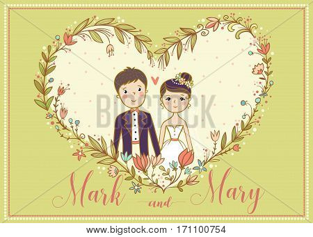 Vector card with a lovely young couple. Illbchtratsiya on marriage and love.