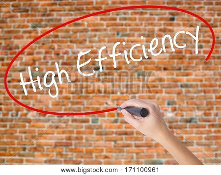 Woman Hand Writing High Efficiency  With Black Marker On Visual Screen
