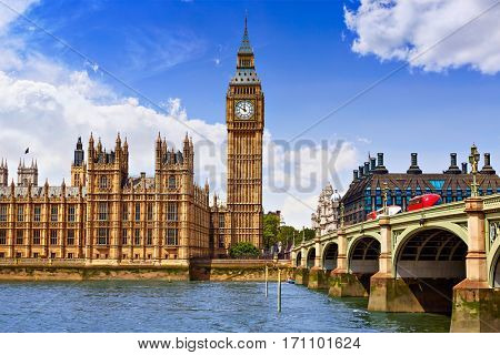Big Ben London Clock tower in UK Thames river