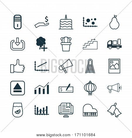 Set Of 25 Universal Editable Icons. Can Be Used For Web, Mobile And App Design. Includes Elements Such As Insert Woods, Octave, Media Campaign And More.