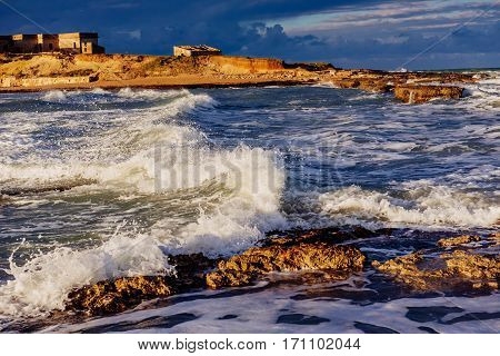 Spring view of the coast at sunset city Trapani. Sicily, Italy, Europe.