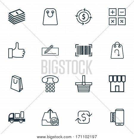 Set Of 16 E-Commerce Icons. Includes Pannier, Identification Code, Dollar Banknote And Other Symbols. Beautiful Design Elements.