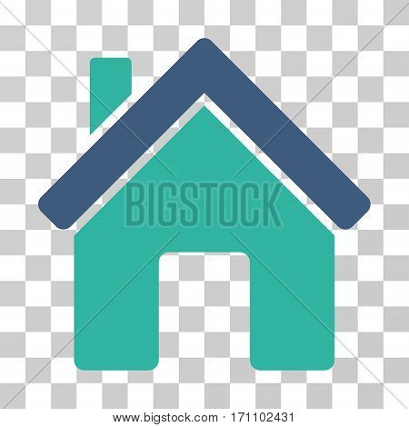 House icon. Vector illustration style is flat iconic bicolor symbol cobalt and cyan colors transparent background. Designed for web and software interfaces.