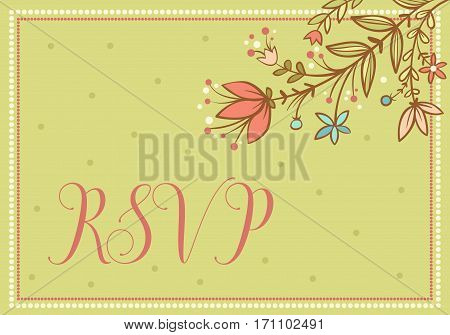 Greeting card. Wedding vector card with flowers and the words RSVP.