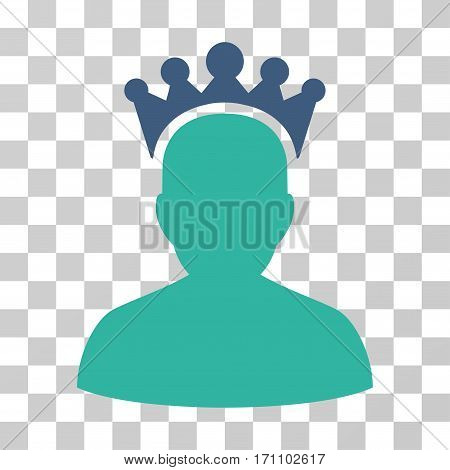King icon. Vector illustration style is flat iconic bicolor symbol cobalt and cyan colors transparent background. Designed for web and software interfaces.
