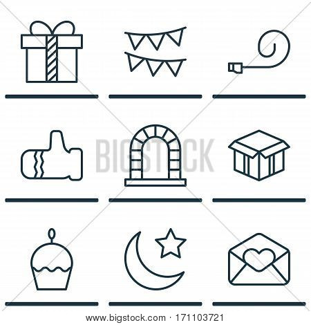 Set Of 9 Happy New Year Icons. Includes Gift, Birthday Cake, Crescent And Other Symbols. Beautiful Design Elements.