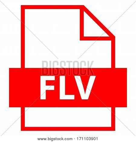 Use it in all your designs. Filename extension icon FLV Flash Video in flat style. Quick and easy recolorable shape. Vector illustration a graphic element.