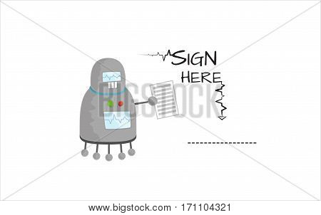 Cute retro cartoon robot character with contract in hand. Text sign here and line. Vector illustration isolated on white background