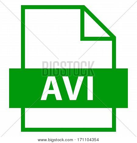 Use it in all your designs. Filename extension icon AVI Audio Video Interleaved in flat style. Quick and easy recolorable shape. Vector illustration a graphic element.