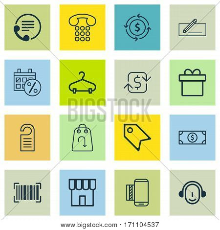 Set Of 16 Ecommerce Icons. Includes Peg, Buck, Mobile Service And Other Symbols. Beautiful Design Elements.