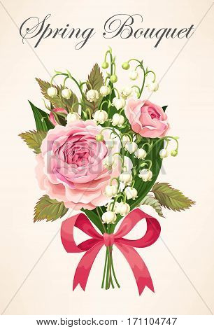 Vintage bouquet of roses and lilies of the valley
