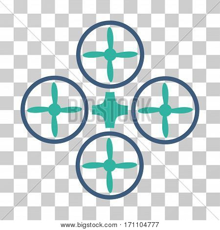 Quadcopter icon. Vector illustration style is flat iconic bicolor symbol cobalt and cyan colors transparent background. Designed for web and software interfaces.