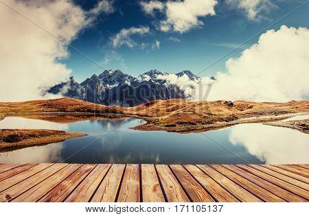 The picturesque landscape in the mountains. Upper Svaneti, Georgia, Europe. Caucasus mountains
