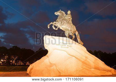 Famous statue of Emperor Peter the Great (Bronze Horseman) in Saint Petersburg, Russia