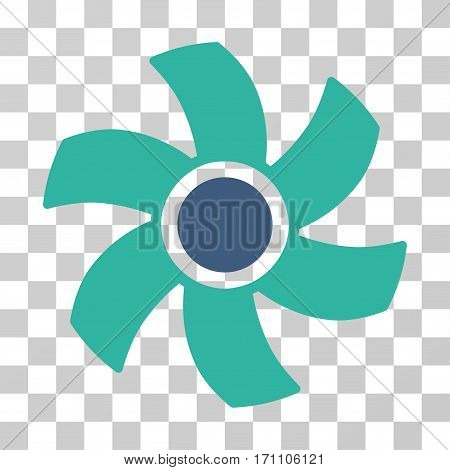 Rotor icon. Vector illustration style is flat iconic bicolor symbol cobalt and cyan colors transparent background. Designed for web and software interfaces.
